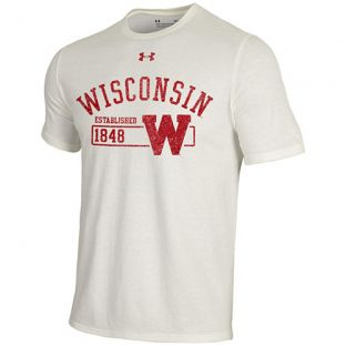 Wisconsin Badgers Under Armour Ivory Retro W Arc Disc Triblend T-Shirt