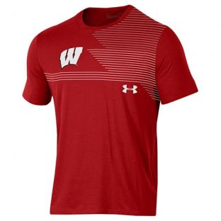 Wisconsin Badgers Under Armour Red Freestyle W Stripe T-Shirt