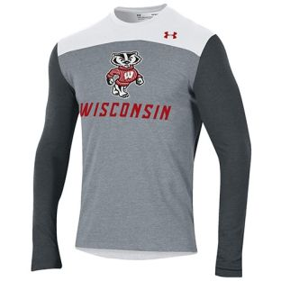 Wisconsin Badgers Under Armour Heather White Freestyle Blocked Long Sleeve T-Shirt