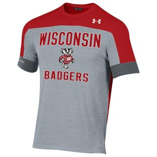 Wisconsin Badgers Under Armour Heather Red Freestyle Blocked T-Shirt