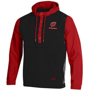 Wisconsin Badgers Under Armour Black & Red W Crinkle Anorak Pullover Jacket