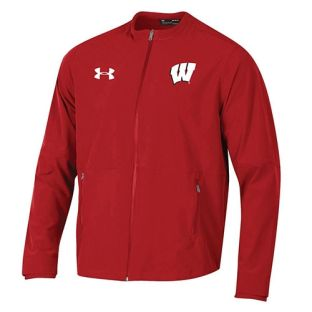 Wisconsin Badgers Under Armour Red 2018 Sideline Woven Warm Up Jacket