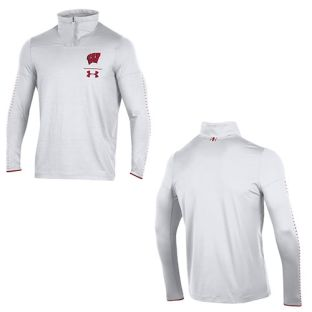 Wisconsin Badgers Under Armour White 2018 Sideline 1/4 Zip