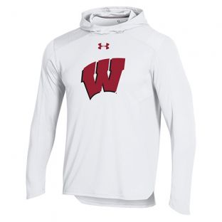 Wisconsin Badgers Under Armour Basketball White 2018-19 Shooter Hood