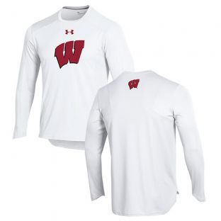 Wisconsin Badgers Under Armour Basketball White 2018-19 Shooter Long Sleeve