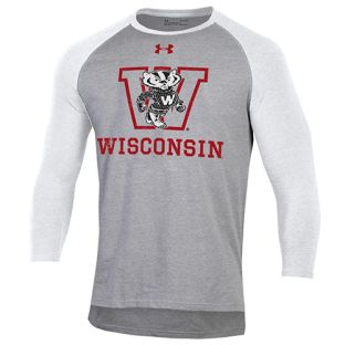 Wisconsin Badgers Under Armour Steel & White Retro Block Bucky Raglan T-Shirt