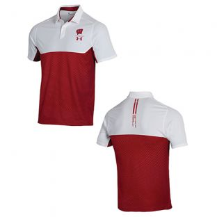 Wisconsin Badgers Under Armour 2019 Sideline Tour Block Polo