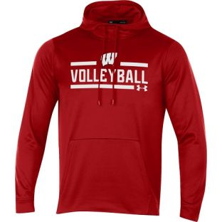Wisconsin Badgers Under Armour Red Volleyball Box Hooded Sweatshirt