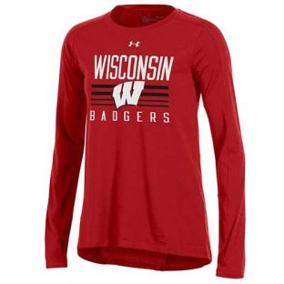Wisconsin Badgers Under Armour Women's Mesh Back Long Sleeve
