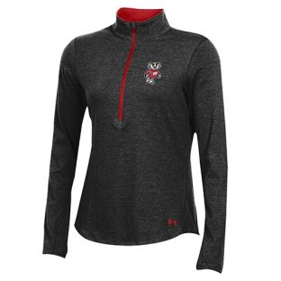 Wisconsin Badgers Under Armour Women's Black Bucky Freestyle 1/2 Zip