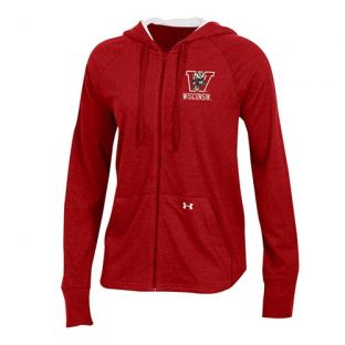 Wisconsin Badgers Under Armour Women's Red Retro Triblend Zip Hooded Sweatshirt