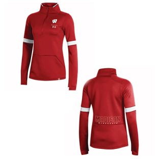 Wisconsin Badgers Under Armour Red Women's 2019 Sideline Half Zip