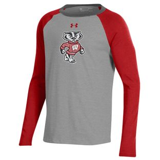 Wisconsin Badgers Under Armour Steel Youth Bucky Tri Color Raglan Long Sleeve