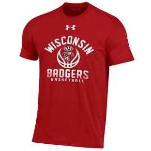 Wisconsin Badgers Basketball Under Armour Youth Red Bucky Ball Cotton T-Shirt
