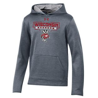 Wisconsin Badgers Under Armour Carbon Youth Angles Bucky Hooded Sweatshirt