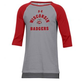 Wisconsin Badgers Under Armour Youth Steel & Red Freestyle Raglan T-Shirt