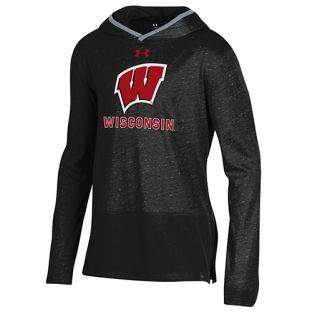 Wisconsin Badgers Under Armour Black Youth Buckshot Hooded Sweatshirt
