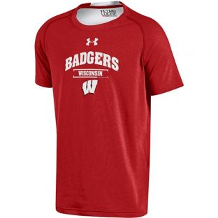Wisconsin Badgers Under Armour Youth Charged Slit Disc T-Shirt