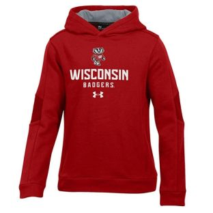 Wisconsin Badgers Under Armour Youth Red Bucky Ridge Hooded Sweatshirt