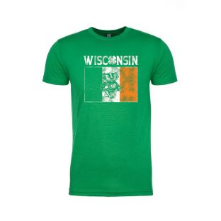 Wisconsin Badgers Kelly Green Bucky Irish Flag Short Sleeve T-Shirt