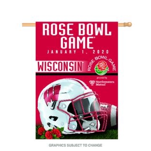 Wisconsin Badgers 2020 Rose Bowl Vertical Flag