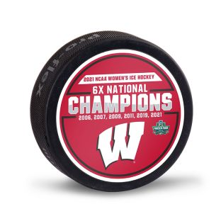 Wisconsin Badgers 2021 Women's Hockey 6X National Championship Puck