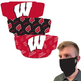 Wisconsin Badgers Wincraft 3-Pack Fan Mask Face Covering
