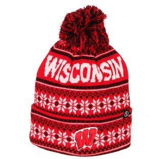 Wisconsin Badgers Zephyr Red Blitzen Cuffed Pom Knit