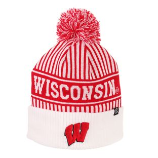 Wisconsin Badgers Zephyr Red & White Referee Cuffed Pom Knit