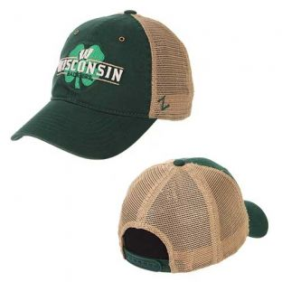 Wisconsin Badgers Zephyr St. Patrick's Day Green/Tan Cloverfield Adjustable Hat