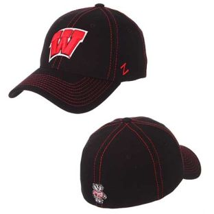 Wisconsin Badgers Zephyr Black Finisher Zfit Hat