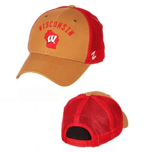 Wisconsin Badgers Zephyr Khaki & Red Sahara Adjustable Cap