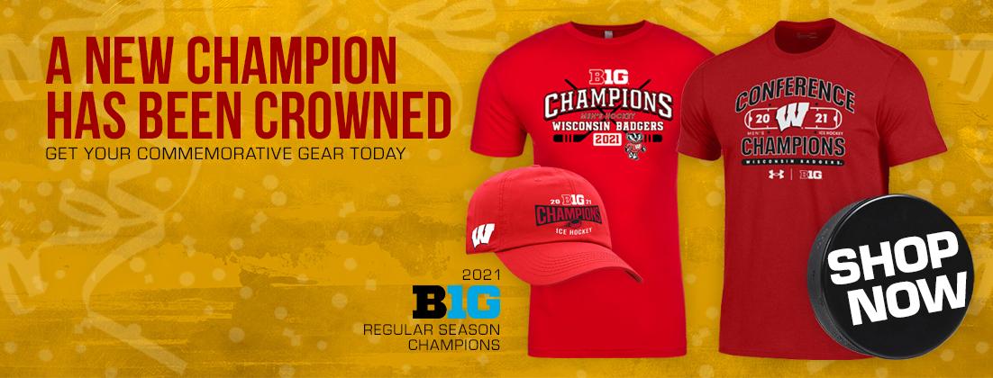 Wisconsin Badgers Men's Hockey 2021 Big Ten Champions Gear