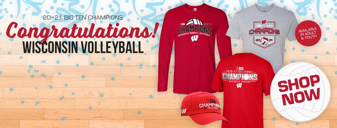 Wisconsin Badgers Volleyball 2020-2021 Big Ten Champions Gear