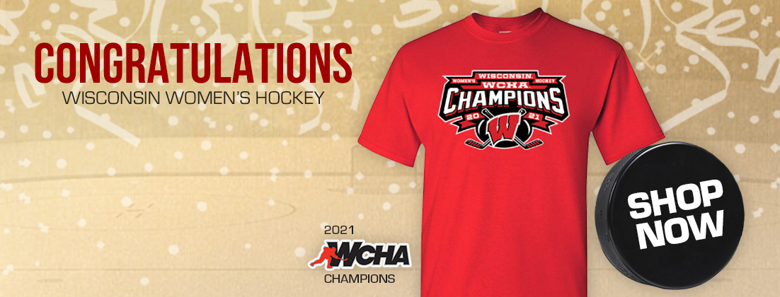 Wisconsin Badgers Women's Hockey 2021 WCHA Champions T-Shirt